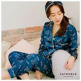 Catworld 白熊家族。緞面長袖居家襯衫睡衣兩件組【16600250】‧M-2XL