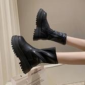 短靴馬丁靴女2021秋季新款厚底增高切爾西靴女ins潮網紅英倫風短靴女 雙11 伊蘿
