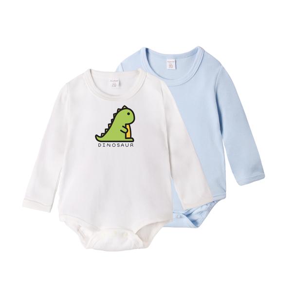 長袖包屁衣 獨家自印 印花+素面 純棉 男寶寶 女寶寶 爬服 哈衣 2件組 Augelute Baby 61161