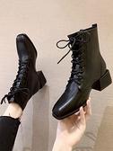 馬丁靴女新款中粗跟靴子女短靴秋冬季百搭時尚方頭系帶瘦瘦靴 智慧e家