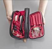 女士黑色大容量化妝包 防水尼龍布雙拉鍊雙面旅行洗漱收納包『極有家』
