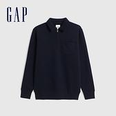 Gap男裝 簡約風格拉鍊半開卷上衣 627566-海軍藍