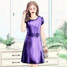 短袖洋裝 80-170斤 中年大碼女連衣裙夏新款短袖時尚媽媽裝加大胖mm修身裙 快速出貨