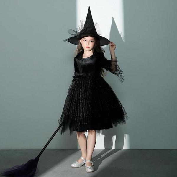 女孩化妝舞會女童cosplay黑色女巫婆萬圣節兒童服裝演出服公主裙快速出貨