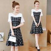 促銷價不退換歐美洋裝夏天必備L-5XL中大尺碼33860夏季收腰顯瘦遮肚洋氣拼接格子t恤裙