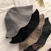 漁夫帽子女盆帽羊毛混紡針織帽保暖可折疊日系百搭潮【聚可愛】
