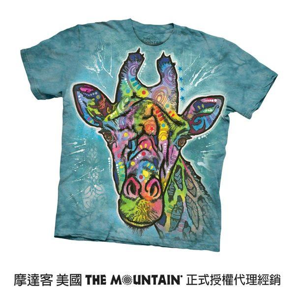 【摩達客】(預購)(大尺碼4XL、5XL)美國進口The Mountain 彩繪長頸鹿 純棉環保短袖T恤(10416045131a)
