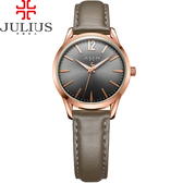 JULIUS 聚利時 微星綻耀彎針設計皮帶腕錶-大象灰/30mm 【JA-983LF】