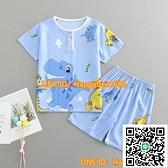 男童睡衣夏季薄款棉綢套裝童裝男童女童短袖短褲綿綢人造棉空調服【happybee】