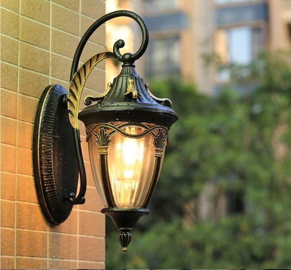 陽臺防水壁燈戶外歐式別墅花園庭院美式露臺圍牆大門 倒掛楓葉描金