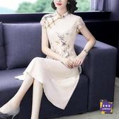 旗袍 媽媽洋裝2020年早春新款女裝夏日顯瘦長裙中國風短袖改良版旗袍