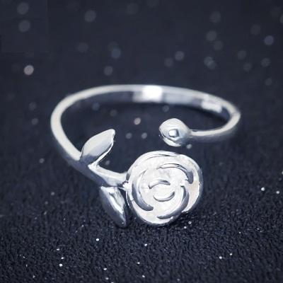 戒指 925純銀-優雅玫瑰花生日情人節禮物女開口戒73dt294【時尚巴黎】
