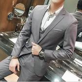 西裝套裝 男士三件套韓版伴郎小西裝修身新郎結婚禮服春西服套裝【快速出貨八折下殺】