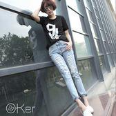 O-Ker 韓淺色破洞中大尺碼九分牛仔跨褲【K3502】-C