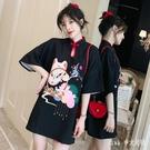 大碼時尚改良式旗袍 女裝2020夏新款胖妹妹寬鬆現代版中國風洋裝連身裙 BT24337【Pink中大尺碼】