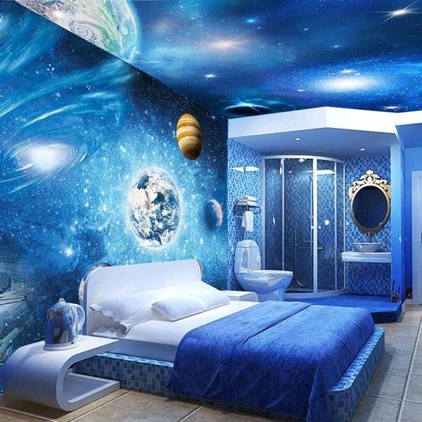 35d宇宙星空裝飾背景墻壁紙兒童臥室主題房墻紙ktv天花板大氣墻布LG-585870