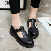 娃娃鞋公主少女皮鞋魔術貼圓頭平底單鞋黑色娃娃鞋 雲雨尚品