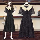 連身裙 洋裝中大尺碼L-5XL胖mm娃娃領碎花雪紡連身裙修身顯瘦減齡R28-A.胖丫