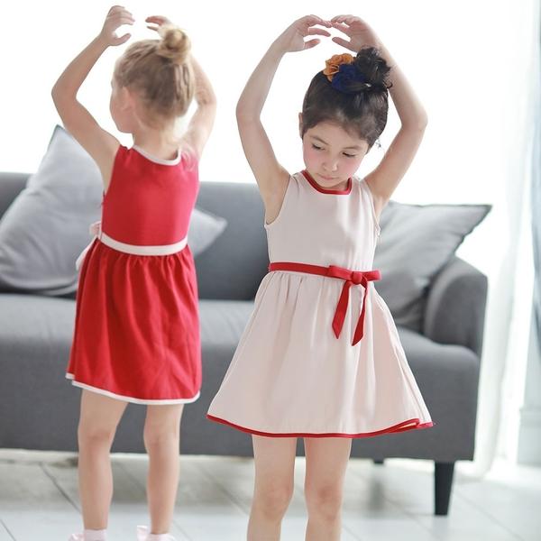 【北投之家】女童無袖洋裝 母女親子姊妹裝 裙子雙色款 蝴蝶結 (兒童/小孩/小朋友/幼童/寶寶)