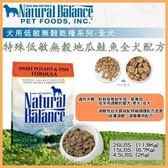 【行銷活動8折】*KING WANG*Natural Balance 低敏無榖地瓜鮭魚全犬配方-原顆粒 狗糧13磅