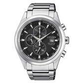CITIZEN 星辰 GENT'S 紳士品味鈦金光動能測速計時腕錶-黑CA0650-82F