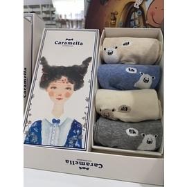 Caramella日系童襪-熊熊(適合3~6歲小朋友)-4雙入