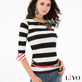 LIYO理優條紋配色喇叭袖上衣E712007