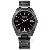 SEIKO 精工 / 6N52-00A0SD.SUR511P1 / 簡約時尚 藍寶石水晶玻璃 日期 不鏽鋼手錶 鍍黑 40mm