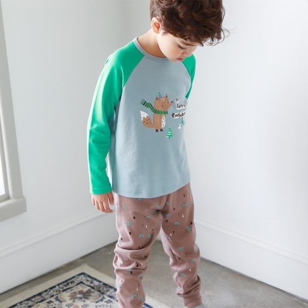 【北投之家】男童睡衣套裝 雙面棉九分袖上衣+長褲 藍狐狸 | 正韓童裝 (兒童/小孩/小朋友)