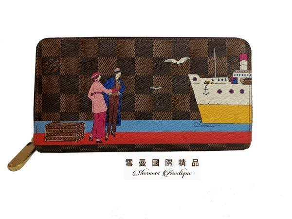 【雪曼國際精品】Louis Vuitton 路易威登 M62135 經典Monogram帆布ZIPPY廣告插畫拉鍊長夾(9.3成新)