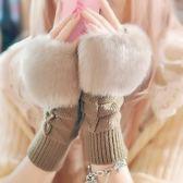 手套   秋冬季可愛學生觸屏手套露指手臂套保暖仿兔毛半指手套