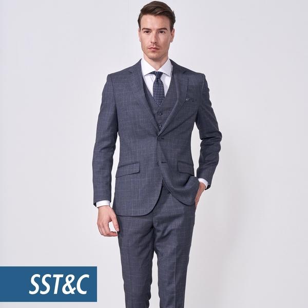 SST&C 男裝 銀灰格紋裁縫西裝褲 | 0212010005