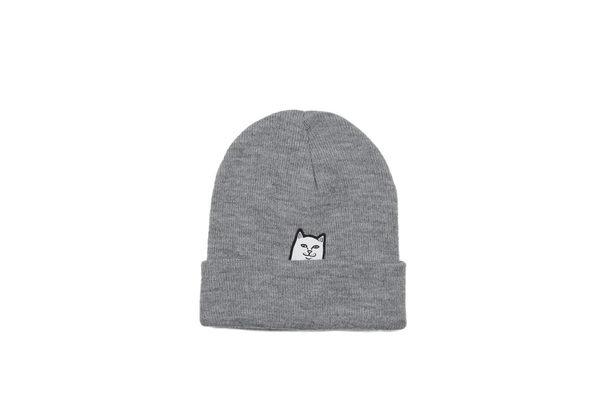 ISNEAKERS RIPNDIP 毛帽 中指貓 灰色 百搭款 配件