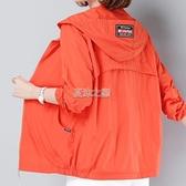 防曬衣女長袖夏裝新款防曬衫中媽媽上衣防曬服帶帽薄款外套