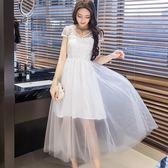 美之札[98616-QF]中大尺碼*性感珍珠V領網紗短袖迷人透視網紗長裙洋裝小禮服~美之札