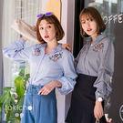 東京著衣-個性條紋拋袖刺繡襯衫(172325)