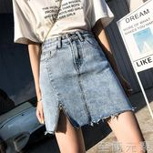 牛仔短裙不規則半身裙高腰包臀chic風裙子a字   至簡元素