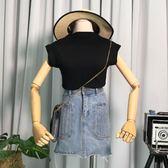時尚氣質純色圓領無袖上衣修身顯瘦百搭女裝針織衫背心潮