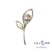 【大東山樑御】彩虹珍珠枝葉鑲鑽胸針  春意系列