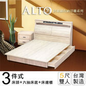 IHouse-阿爾圖 收納浮雕三件式房間組(床頭+六抽床底+床邊櫃)-雙人5尺