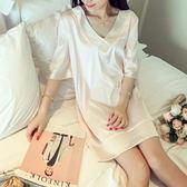 睡裙女夏短袖V領甜美可愛性感正韓冰絲睡衣絲綢薄款家居服