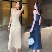 吊帶背心連身裙女春夏季絲綢緞面中長款性感v領打底內搭收腰襯裙 秋季新品