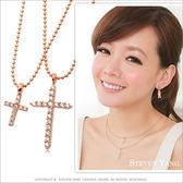 項鍊 正白K飾「派對女孩」十字架 玫金款 雙鍊設計 甜美必敗