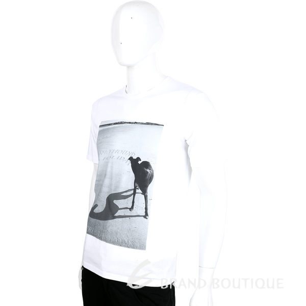 TRUSSARDI-JEANS 白色狗倒影圖印棉質短袖T恤 1620450-20
