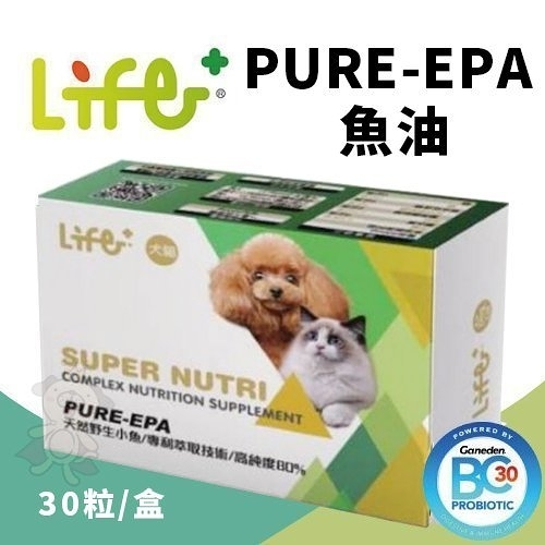 Life+ PURE-EPA魚油 30粒/盒.取得高純度魚油EPA.補充寵物所需Omega 3.犬貓營養品