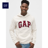 Gap男裝 Logo印花長袖套頭連帽休閒上衣 488108-灰白色
