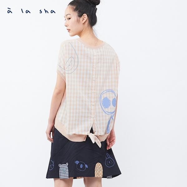 a la sha 針織拼接格子創意上衣