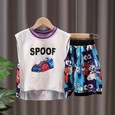 兒童球服套裝2021新款男童無袖套裝帥氣男寶寶背心短褲套裝運動潮 幸福第一站