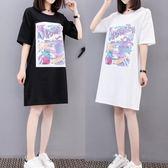 海外發貨不退換大尺碼孕婦洋裝連身裙312新款韓版夏裝中長款t恤加肥加大大碼女裝胖MM(F5044B)