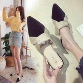 拖鞋女夏外穿新款韓版百搭尖頭包頭半拖低跟粗跟半托防滑涼拖 俏腳丫